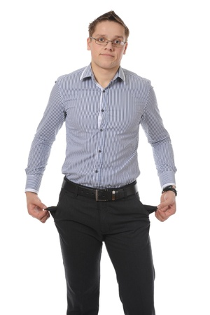 whitem: man with empty pockets. Isolated on white background