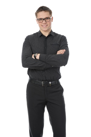 Portrait of young businessman. Isolated on white background photo