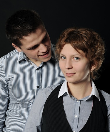 portrait of a joyful young couple man and woman photo