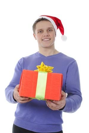 man holding present  box. Isolated on white background photo
