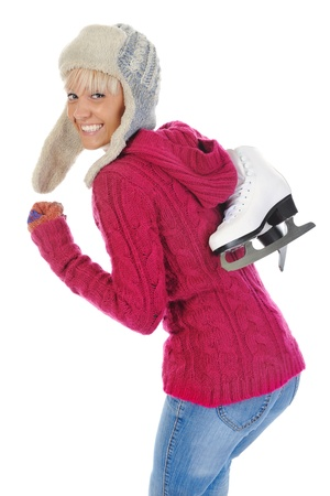 Girl with skates. Isolated on white background Stock Photo - 8260562