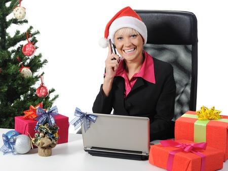 Secretary of Santa Claus. Isolated on white background photo