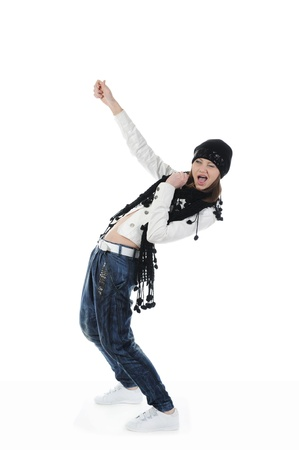 Young woman dancing hip-hop. Isolated on white background Stock Photo - 8260479