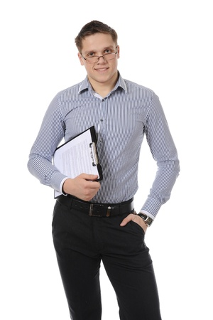 business man holding clipboard. Isolated on white background Stock Photo - 8260492