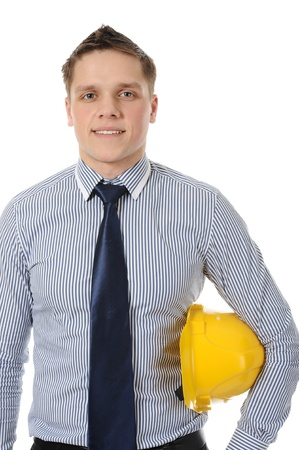 Businessman with construction yellow helmet. Isolated on white Stock Photo - 8260585
