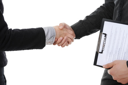 promotion girl: Handshake of business partners, when signing documents. Isolated on white background Stock Photo