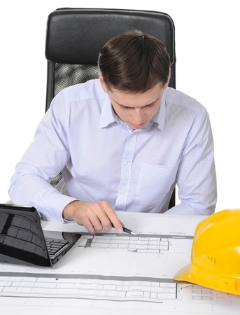 yellow construction helmet on the table builder Stock Photo - 8260581