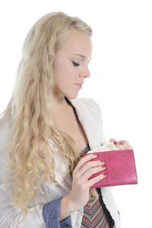 long-haired young blonde woman gets out of the bag euro banknotes. Isolated on white Stock Photo - 8355474