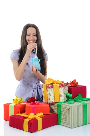 woman with gifts. Isolated on white background photo