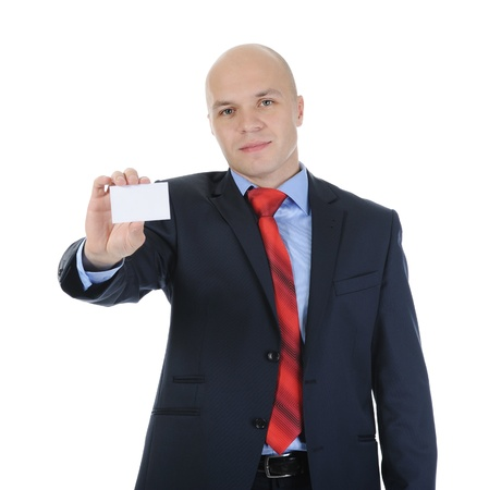 Image of a businessman holding a blank in the hand. Isolated on white background Stock Photo - 8355502