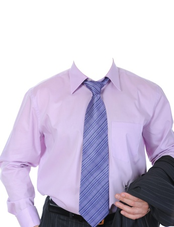 shirt and tie: Clothing on the living dummy. Isolated on white background