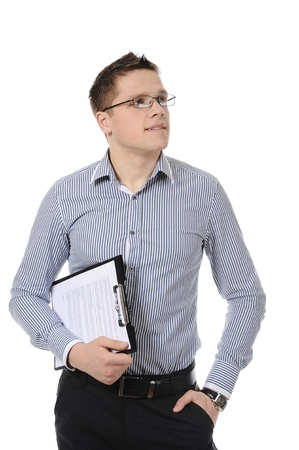business man holding clipboard. Isolated on white background photo
