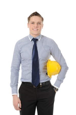 Businessman with construction yellow helmet. Isolated on white Stock Photo - 8355538