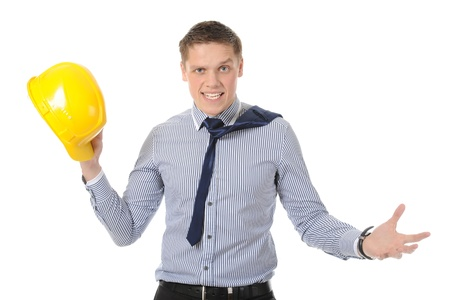 Businessman with construction yellow helmet. Isolated on white Stock Photo - 8355526