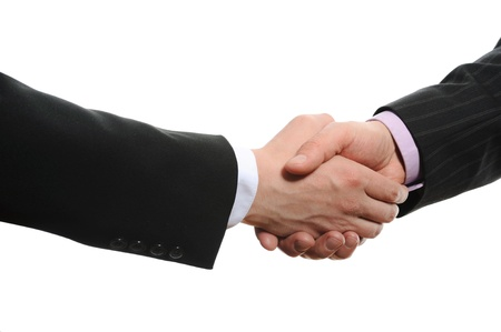 Handshake two business partners. Isolated on white photo