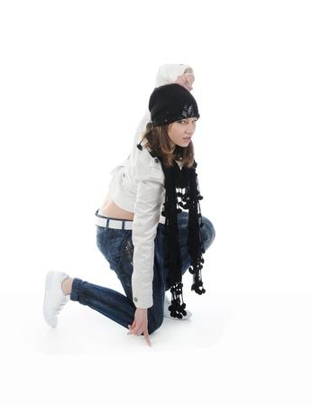 Joven bailando hip-hop. Aislados en fondo blanco Foto de archivo - 8355548