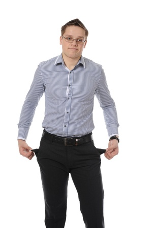 man with empty pockets. Isolated on white background photo