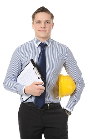 blue helmet: Businessman with construction yellow helmet. Isolated on white