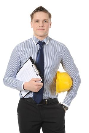 seguridad industrial: Hombre de negocios con casco de construcci�n amarillo. Aislados en blanco Foto de archivo