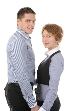 portrait of a joyful young couple. Isolated on white background Stock Photo - 8355597