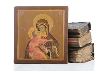 Holy mother and baby Jesus.. Isolated on white background photo