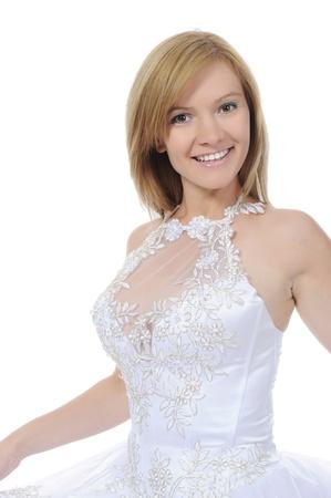 Blonde smiling bride. Isolated on white background photo