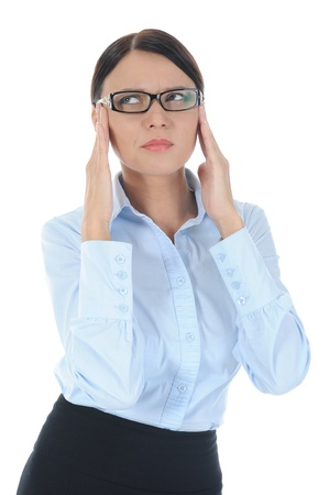 Portrait of a young businesswoman experiencing a headache. Isolated on white background photo