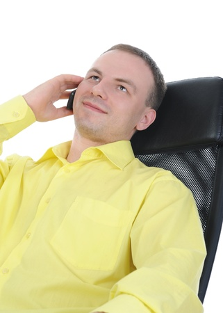 businessman talking on the phone. Isolated on white background photo