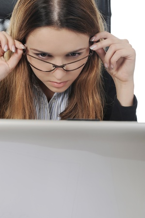 happy business woman in the office. Isolated on white background photo