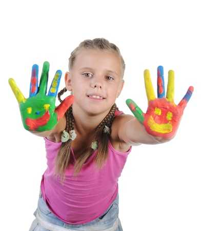smiling girl with the palms painted by a paint. Isolated on white background Stock Photo - 8404217