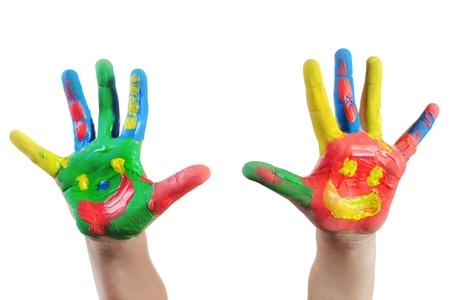 creativity: Hand Painted Child. Isolated on white background
