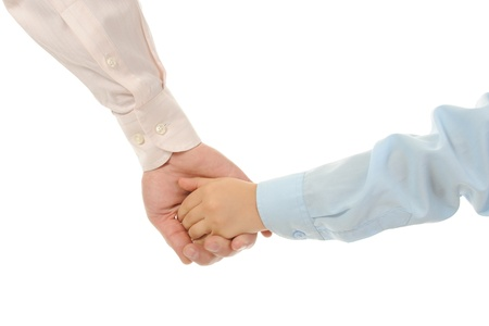 little boy holds his fathers hand Isolated on white background photo