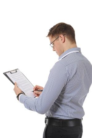 portapapeles: Empresario sosteniendo un Portapapeles. Aislados en fondo blanco