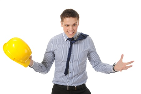 Businessman with construction yellow helmet. Isolated on white photo
