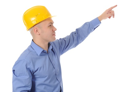 Businessman in helmet points hand up. Isolated on white background Stock Photo - 8404303