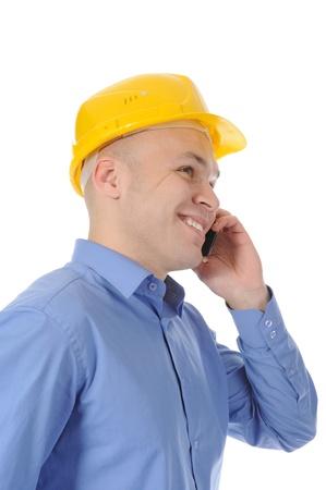 Happy businessman talking on the phone. Isolated on white background Stock Photo - 8404314