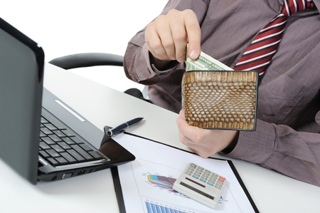 change purse: Businessman gets money from her purse. Isolated on white background