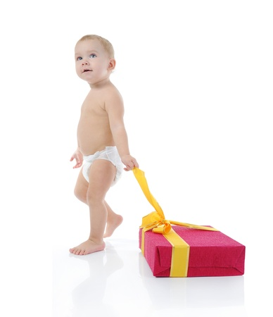 Portrait of a happy blue-eyed child. Isolated on white background photo