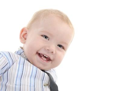 Portrait of a happy blue-eyed boy. Isolated on white background Stock Photo - 8442138