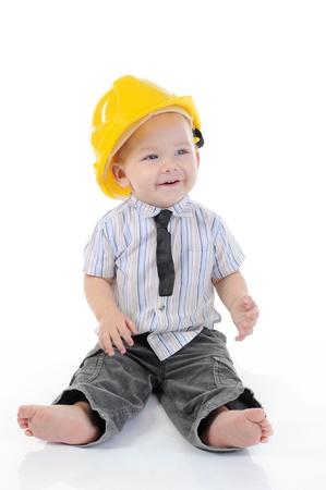 Portrait of a happy blue-eyed boy. Isolated on white background Stock Photo