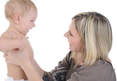 Glücklich Mom mit einem Kind. Isoliert auf weißem Hintergrund Lizenzfreie Bilder - 8442287