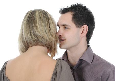 portrait of a joyful young couple. Isolated on white background photo