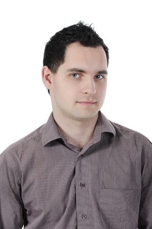whitem: Portrait of young businessman. Isolated on white background Stock Photo
