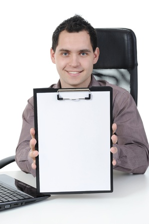 Businessman holding clipboard  in hand. isolated on white background photo