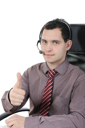 commentator: man with a headset isolated on white background Stock Photo