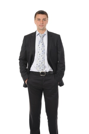 Portrait of happy smiling businessman in a business suit. Isolated on white background photo