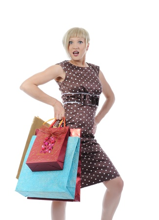 woman with a shopping bag. Isolated on white background photo