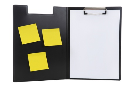 Clipboard and paper isolated on white background Stock Photo - 8474081