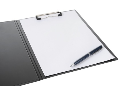 Clipboard and paper isolated on white background Stock Photo
