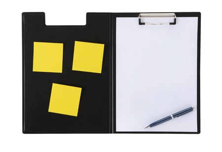 Clipboard and paper isolated on white background photo
